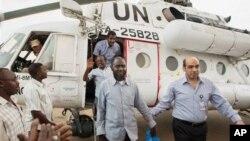 지난 7월 수단에서 활동 중인 유엔-아프리카연합 지원단 소속 요원들. (자료사진)