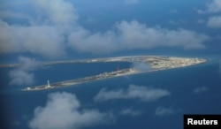 An aerial view of China occupied Subi Reef at Spratly Islands in disputed South China Sea April 21, 2017. REUTERS/Francis Malasig/Pool