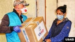 美国国际开发署(USAID)向乌克兰人民提供援助物资(资料照片)