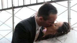 This couple married high up on the Empire State Building in New York on Valentine's Day.
