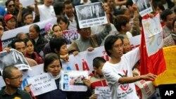 베트남 하노이 시 시위대가 남중국해 영유권 분쟁과 관련해 반중 시위를 벌이고 있다. (자료사진)