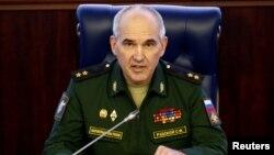 러시아군 합동참모본부 작전참모 세르게이 루즈코이 중장이 지난 19일 모스크바 국방부 청사에서 브리핑을 열어 시리아 내전 현황을 설명하고 있다. (자료사진)