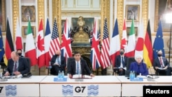 英國倫敦蘭開斯特宮,英國財政大臣蘇納克在七國集團領導人峰會前的七國集團財政部長會議上發言(2021年6月4日)。