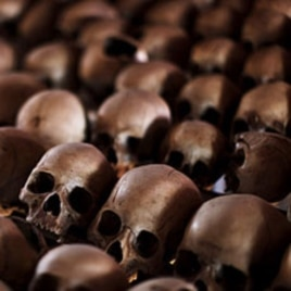 Skulls of Rwandan victims rest on shelves at a genocide memorial inside a church at Ntarama just outside the capital Kigali (file photo).