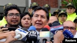 FILE - Colombia's Attorney General Nestor Martinez addresses the media, in Cali, Colombia, June 25, 2018.