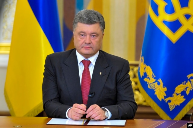 Ukrainian President Petro Poroshenko makes a televised address in Kyiv, Ukraine, June 30, 2014.