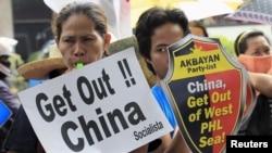 Biểu tình chống Trung Quốc tại Makati city, Manila, ngày 24/7/2015.