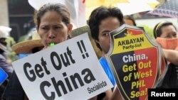 Người Philippines xuống đường biểu tình phản đối các hành động của Trung Quốc ở Biển Đông, ngày 24/7/2015.