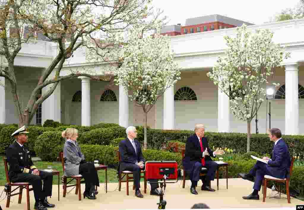 Интервју за Фокс Њујз на претседателот Трамп и неговиот тим за справување со коронавирусот од градината во Белата куќа.