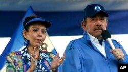 En esta foto de archivo del 5 de septiembre de 2018, el presidente de Nicaragua, Daniel Ortega, y su esposa, la vicepresidenta Rosario Murillo, encabezaron un mitin en Managua, Nicaragua.