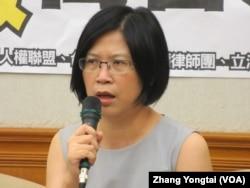 台灣法輪功律師團發言人朱婉琪(美國之音張永泰拍攝)