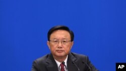 Chinese Foreign Minister Yang Jiechi attends a news conference in Beijing's Great Hall of the People, China, March 9, 2013.