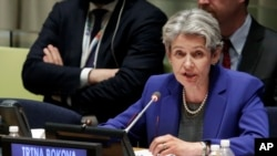 FILE - U.N. Secretary-General candidate Irina Bokova, Director-General of UNESCO, delivers her remarks in the United Nations Trusteeship Council Chamber, April 12, 2016. Bokova condemns the killing of Joao Miranda do Carmo, the third reporter to die in Brazil this year.