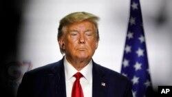 美國總統特朗普出席在法國比亞里茨舉行的七國集團峰會第三天也是最後一天的新聞發布會(2019年8月26日)。