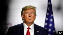 美国总统特朗普出席在法国比亚里茨举行的七国集团峰会第三天也是最后一天的新闻发布会(2019年8月26日)。