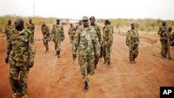 Tentara Pembebasan Rakyat Sudan (SPLA) berjaga di garis depan Tachuien, negarabagian Unity, Sudan Selatan (11/5). DK PBB telah menyerukan agar Sudan segera menarik pasukan dari wilayah sengketa.