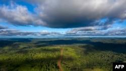 Vue aérienne de la route Transamazonica (BR-230) près de Medicilandia, État de Para, Brésil le 13 mars 2019 (photo de Mauro Pimentel / AFP)