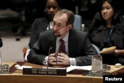 자이드 라드 알 후세인 유엔 인권최고대표가 지난해 12월 뉴욕 유엔본부에서 열린 안보리 북한인권 회의에서 발언하고 있다. (자료사진)