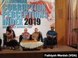 Transparency International Indonesia (TII) merilis data indeks persepsi korupsi (IPK) Indonesia 2019 di Jakarta, Kamis, 23 Januari 2020. (Foto: Fathiyah Wardah)