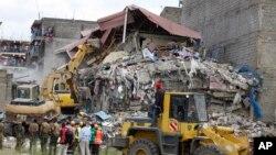 L'immeuble s'est effondré le 13 juin 2017, à Nairobi, au Kenya.