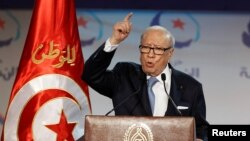 Le président tunisien Beji Caid Essebsi lors d'un discours devant le congrès du mouvement Ennahdha à Tunis, Tunisie, le 20 mai 2016.