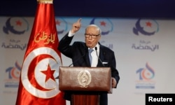 FILE - Tunisian President Beji Caid Essebsi speaks in Tunis, Tunisia, May 20, 2016.