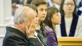 台北义光教会228追思会上的林义雄。(美国之音记者方正拍摄)