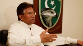Former Pakistani president Pervez Musharraf speaks during an interview with Reuters in Dubai, January 8, 2012.