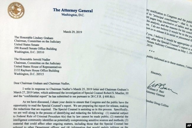 FILE - The letter that Attorney General William Barr sent to Congress on March 29, 2019, is photographed in Washington.