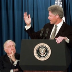 President Clinton speaks during an address before the Conference on Free Television and Political Reform in Washington. Walter Cronkite served as chairman for the Free TV for Straight Talk Coalition