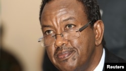 Somalia Prime Minister Abdi Farah Shirdon Saaid listens to a question from the media in Mogadishu, October 6, 2012.