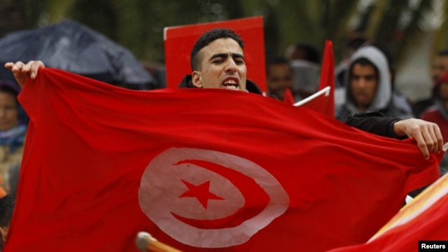 A demonstrator holds a Tunisian flag as he joins others demanding more compensation for the families of those injured or killed during the uprising against now deposed President Ben Ali, Tunis, January 17, 2013.