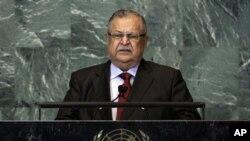 유엔 총회에서 이라크에 대한 투자를 호소하는 잘랄 탈라바니 이라크 대통령