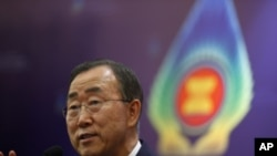 United Nations Secretary General Ban Ki-moon talks at a news conference during Summit (file photo)
