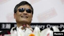 中国异议人士陈光诚2013年6月25日在台湾立法院(资料照片)