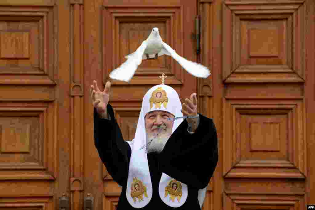 Russian Orthodox Patriarch Kirill releases a white dove to mark Annunciation Day in the Kremlin in Moscow. In Christianity, Annunciation celebrates the relevation to the Virgin Mary that she would bear a son, Jesus.