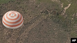 The Soyuz TMA-17 spacecraft carrying Expedition 23 Commander Oleg Kotov and Flight Engineers T.J. Creamer and Soichi Noguchi lands on the steppes of Kazakhstan, 02 Jun 2010