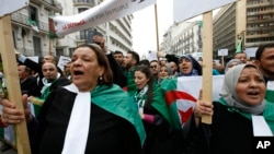 Algerian lawyers rally, March 23, 2019, to demand the departure of ailing 82-year-old Algerian President Abdelaziz Bouteflika at the end of his term scheduled for April 28, 2019.