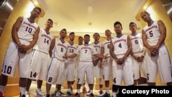 The Cambodia national basketball team.