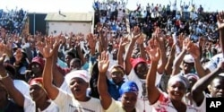 MDC supporters at a recent rally in Bulawayo … Human rights monitors are warning of an upsurge in political violence in Zimbabwe ahead of a proposed election in 2011