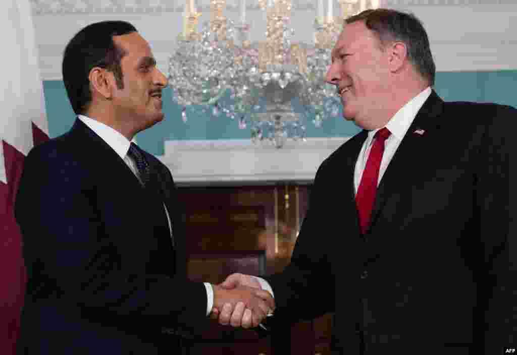دیدار مایک پمپئو، وزیر خارجه آمریکا با همتای قطری خود در واشنگتن