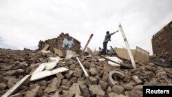 Kuća uništena u vazdušnom napadu koalicije na čelu sa Saudijskom Arabijom u Sani, glavnom gradu Jemena.