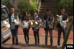 香港警方在現場搜獲一批可製造炸彈的材料。(視頻截圖)
