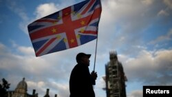 Učesnik protesta protiv Bregzita ispred parlamenta u Londonu