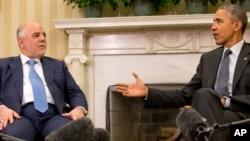 미국을 방문한 하이데르 알아바디 이라크 총리(왼쪽)가 14일 워싱턴에서 바락 오바마 미국 대통령과 회동했다.