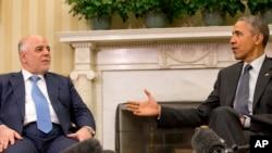 El primer ministro iraquí, Haider al-Abadi junto a Barack Obama en la Casa Blanca.