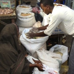 Food from aid organizations can be misused. Here food market by USAID and other aid groups is being sold in a market in Mogadishu.