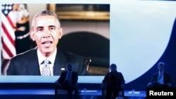 5일 칠레에서 열린 세계 해양 환경보호 국제회의에서 바락 오바마 미국 대통령이 영상으로 메세지를 전달하고 있다.