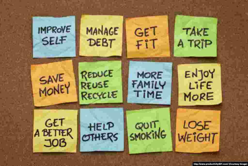 贴纸上写着人们的新年决心,从左到右,从上到下,依次是:改进自己,管理债务,健身瘦身,去旅行,省钱,减少、再次使用和再生,给家庭更多时间,更享受生活,找个好些的工作,帮助别人,戒烟,减轻体重。