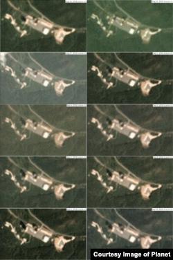 서해 미사일 발사장의 8월16일부터 9월10일 사이의 모습. 특별한 변화가 관측되지 않았다. 사진제공=Planet Labs Inc.